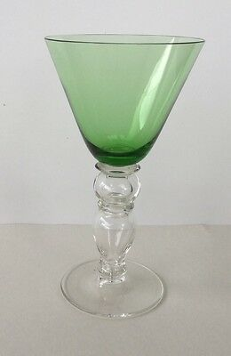 Vintage Bohemian Green & Clear Blown Glass Goblet