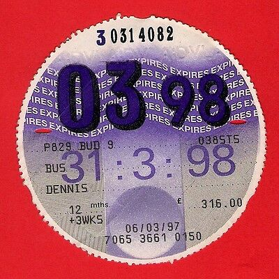 Bus Tax Disc 1998 - Petes Travel of West Brom P829BUD - 1997 Wrights Dennis Dart