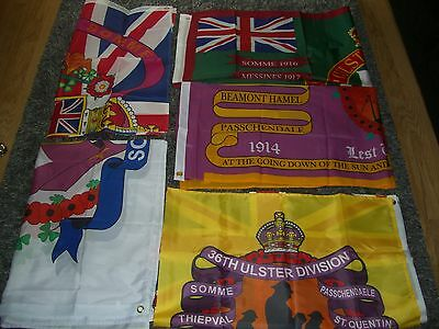 5 NEW ULSTER LOYALIST FLAGS 5x3, 36TH ULSTER DIV , SOMME POPPY RANGERS UVF YCV
