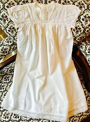 Vintage Edwardian Style Baby's Gown, Cotton & Lace, Size 12Mo? Excellent Condn