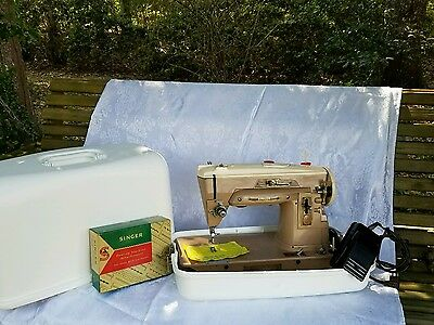 CLEAN Singer 403 Slant 'OMatic Sewing Machine w/controls & attachments SERVICED