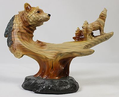 WOLF FAUX WOOD CARVING Figurine Statue Faux NEW Wildlife Wolves Dog Husky Animal