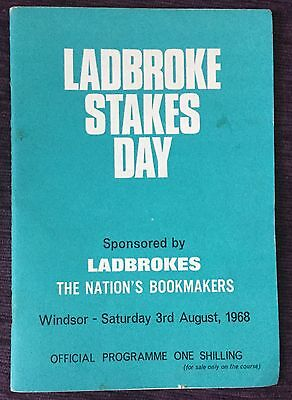 Windsor Race Card 1968 Ladbrokes Stakes Day Official Horse Racing Programme