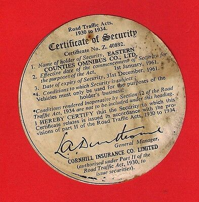 Bus Security Disc 1961 - Eastern Counties Omnibus Company - Cornhill Insurance
