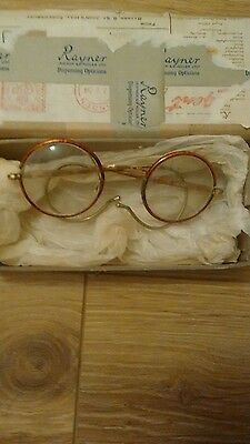 Vintage Spectacles - Round 'tortoise Shell' Frame - Wrap Around Ears & Case