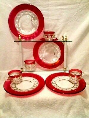 (4 Sets) - VINTAGE KINGS CROWN THUMBPRINT RUBY LUNCH PLATES & CUPS