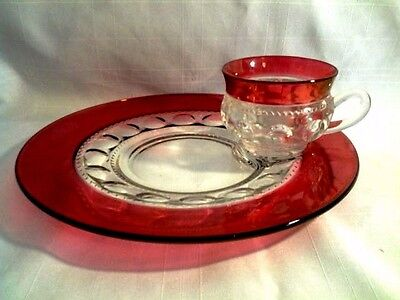 (2 -Sets) VINTAGE KINGS CROWN RUBY THUMBPRINT LUNCH PLATES & CUPS