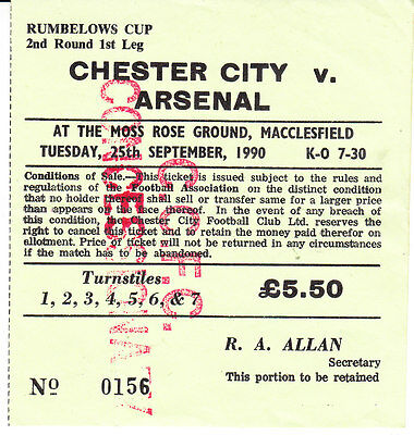Chester V Arsenal 1990/91 Rumbelows Cup Ticket