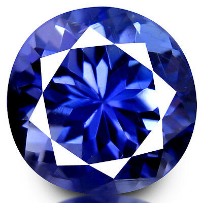 2.38Ct ROUND, UNIQUE FIRE LUSTROUS  'AA' BLUE NATUTAL TANZANITE GEMSTONE