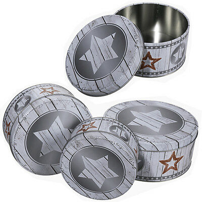 Set Of 3 Cake Storage Tin Cupcake Cookies Box Kitchen Round Container Food Cup .