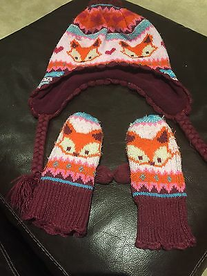 Gorgeous Girls Fox Hat And Mittens Aged 4-8 Years H&M