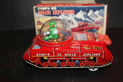 BOXED 1960'S BUMP'N GO SPACE EXPLORER TOY Japanese Tinplate