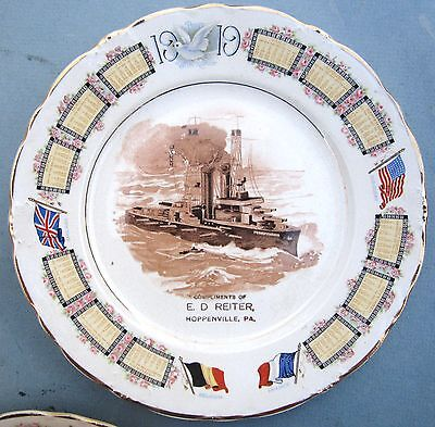 Antique Lot 2 Advertising Plates w/ US Ships, Hoppenville&Centre Valley PA,1919