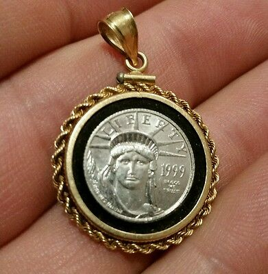 """1999 American Liberty Coin In 14K Gold Pendant set on genuine onyx. 1.25"""" 7.1gr"""