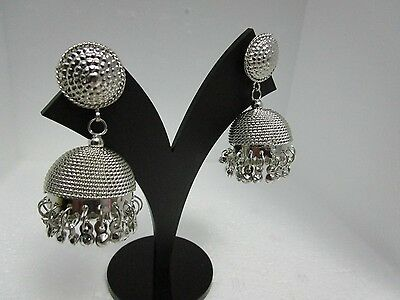 Ethnic Traditional Silvery Finish Jhumka Jhumki Earrings Bollywood Style