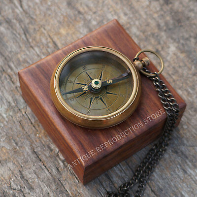 Compass Antique Brass Vintage Nautical Brown Style Pocket Maritime W Solid Box