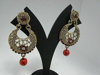 Ethnic Bollywood Style Bridal Earrings with Red AD CZ Stones with Gold Tone