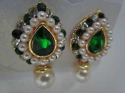 Ethnic AD CZ Pearl Coloured Stone Earring  Bollywood Style