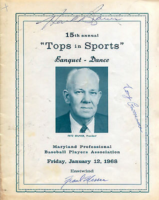 "Signed 1968 ""TOPS IN SPORTS"" Banquet Program: Jimmie Dykes Yankees Frank Messer"