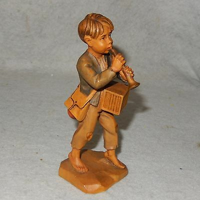 Vintage ANRI Carved Wood Peasant Boy Playing Horn Carving Figurine EXQUISITE!