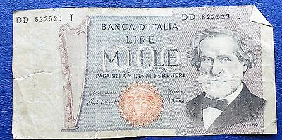1980 Bank of Italy 1000 Lira Banknote Bank Building Issue Circ # MP13