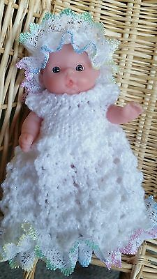 White Lace Trim Gown Set hand knit clothes for 5 inch Berenguer Baby doll