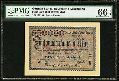 1923 Germany 500,000 Mark 2nd Issue PMG GEM UNC 66 EPQ (PS930)