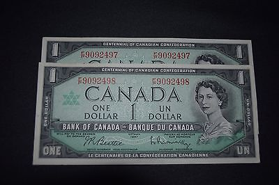 Bank Of Canada 1967 $1 Notes  Two Unc Consecutive Notes