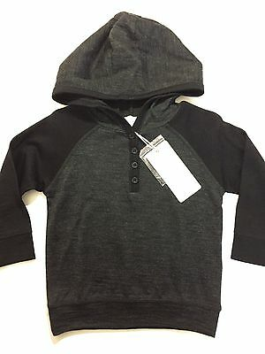 NEW Boys Hoody Sweater PUMPKIN PATCH Merino Wool Charcoal Gray 12M Baby Toddler