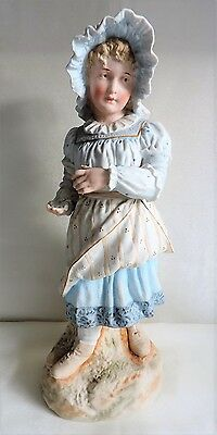 """Antique Continental Bisque Porcelain Figurine of a Young Girl Large 14"""" Tall"""