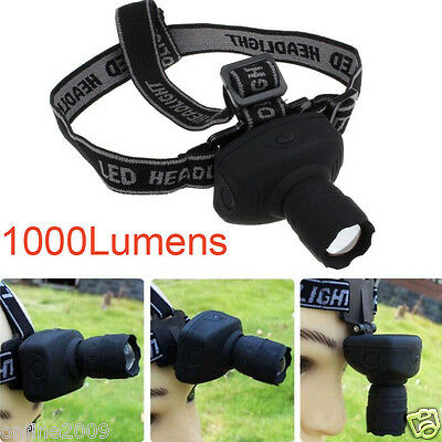 3Mode 1000Lumens CREE Q5 LED ZOOMABLE Headlamp AAA Head Torch Light Camping