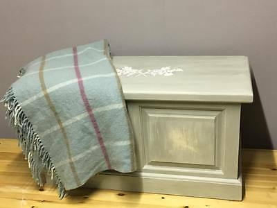 Blanket Box Trunk Chest Paris Grey Old Ochre Vintage French Wood Painted Shabby