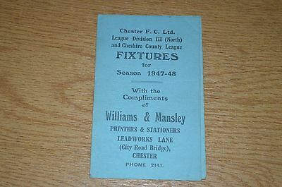 Chester Fc Fixture Card 1947/48