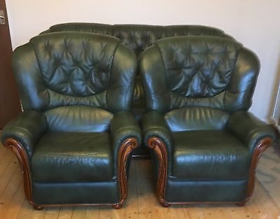 Green Leather 3 Piece Suite, Three Seater Sofa Settee Two Armchairs - Del Poss