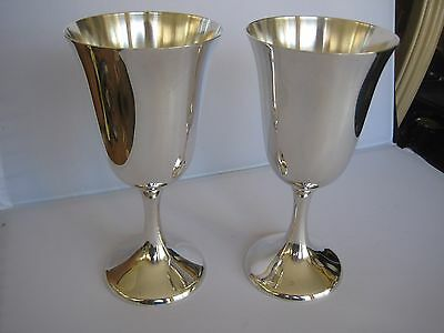 """2 Manchester Sterling Silver Water Goblet 6 3/4"""" Tall 9.89 Troy Oz's Not Scrap"""