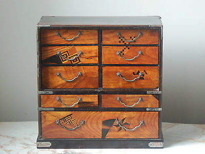 Antique Marquetry Wooden Oriental Cabinet 9 Drawer Jewellery Box