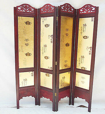 Room Divider 4 Panels Folding Screen Relax Tea Time