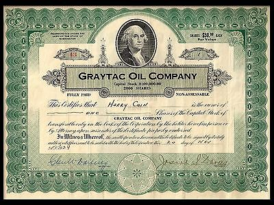 Common Stock. Graytac Oil Company. November 1929