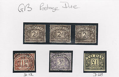 GB stamps  Postage Due D12 used, D68 mint, + others.