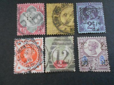 GREAT BRITAIN 6 Various Queen Victoria Stamps