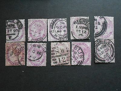 GREAT BRITAIN 10 x 1d Lilac Queen Victoria Stamps