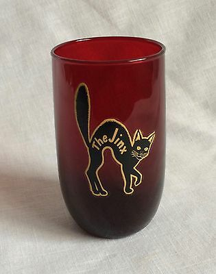 Ruby Red Tumbler Glass Mid Century Black Cat Decal The Jinx 4 1/4