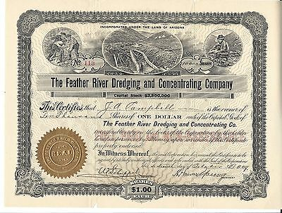 The Feather River Dredging And Concentrating Company.....1909 Stock Certificate