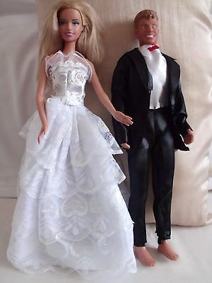 Wedding Barbie and Ken with clothes Excellent Condition