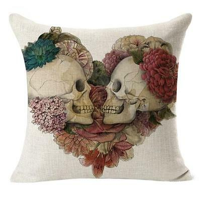 Linen Decorative Cushion Covers Vintage Skull Throw Pillow Cases for Sofa Gift