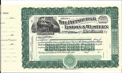 The Pittsburgh, Lisbon & Western Railroad Company...early 1900's Unissued Stock