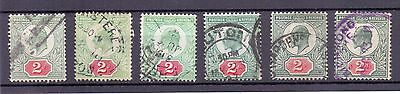 EDWARD VII 2d SELECTION UNCHECKED SHADES X6 GOOD USED.