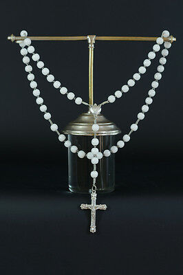 19Thc fine french silver hand rosary & white milk glass