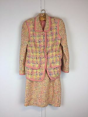 Vintage Anne Klein pink yellow spring boucle suit jacket skirt lot as is S M