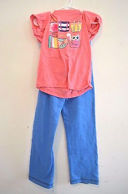 Cherokee Old Navy Size 5 Girls Outfit Blue Sweat Pants Pink Short Sleeve Top